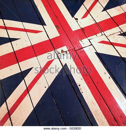 Union Jack Flag Painted on Wood UK GB - Stock Image