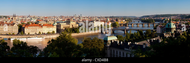 View of the River Vltava and bridges, Prague, Czech Republic, Europe - Stock-Bilder