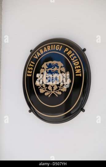 Estonian Government Coat of Arms on a Government building in Kadriorg park, Tallinn,Estonia in the Baltic States - Stock Image