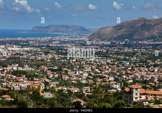 Panorama of Palermo, Sicily from Monte Caputo - Stock Image