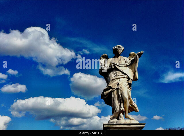 Angel and clouds - Stock Image