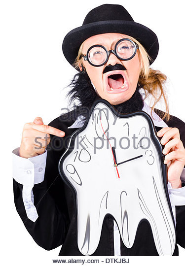 A woman in men's clothes and a fake beard with a clock that is melting away - Stock Image