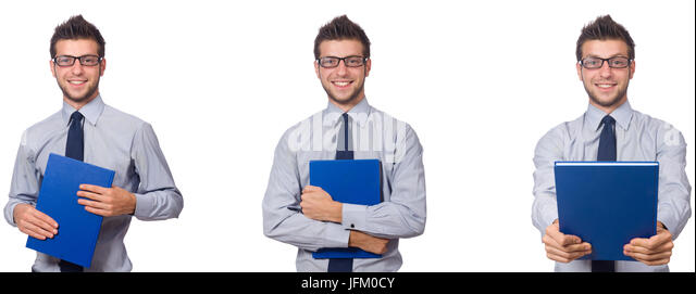 Businessman with blue notepad isolated on white - Stock Image