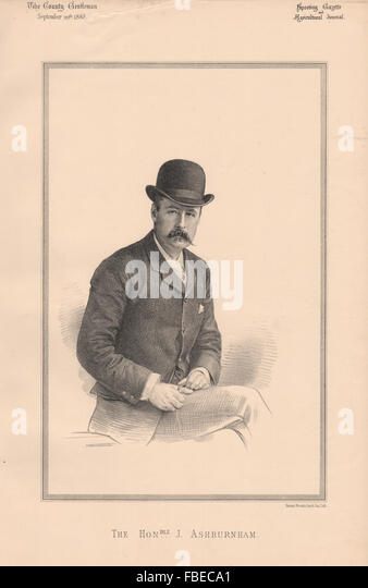 The Honourable J. Ashburnham, antique print 1888 - Stock Image