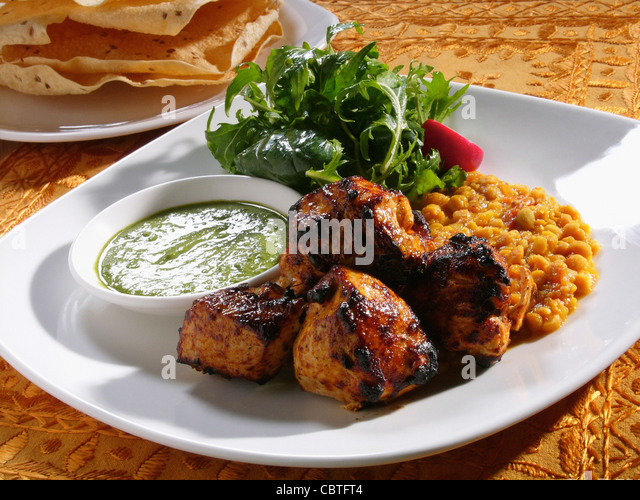 Close up of chicken tandoori entree - Stock Image