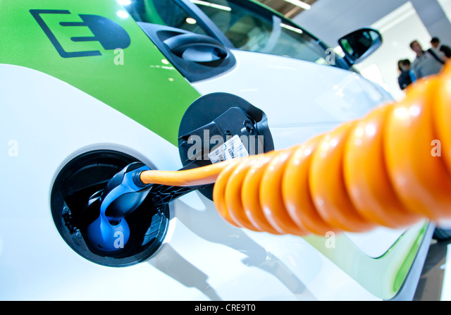 Charging with a charging cable, on an electric car, E-Smart electric drive by Smart, Daimler Group - Stock Image