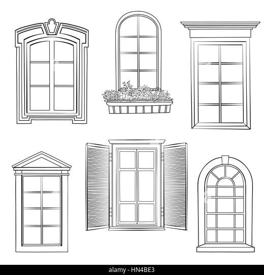 Pencil art building sketch stock photos pencil art building window set different architectural style of windows doodle sketch stylish collection stock image thecheapjerseys Image collections