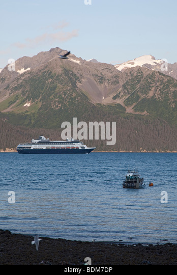 Seward alaska the cruise ship ryndam and a fishing boat on