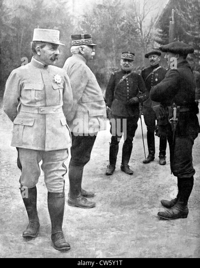 World War I. General Joffre visiting the eastern front - Stock Image
