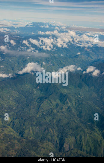 Aerial of the western highlands of Papua New Guinea, Pacific - Stock Image