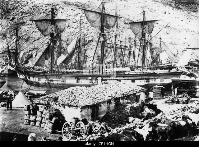 Crimean War 1853 - 1856, siege of Sevastopol 17.10.1854 - 9.9.1855, British supply ships at the roadstead of Balaklava, - Stock Image