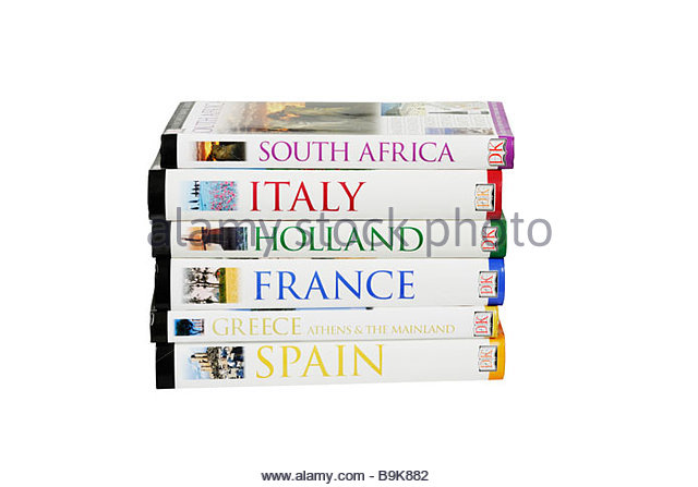 Selection of travel guides. - Stock-Bilder