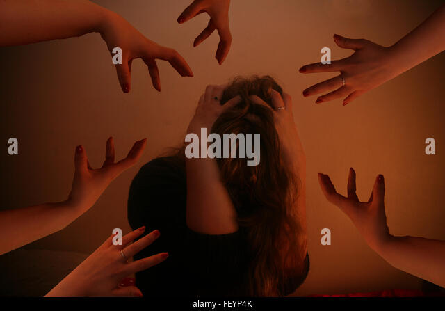 domestic abuse, unwell, teenager, stressed, pressure, down, depressed, life, trapped, pressures, bullying, conceptual - Stock Image
