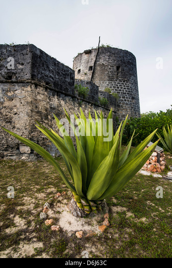 Old British watch tower in Barbuda, Antigua and Barbuda, West Indies, Caribbean, Central America - Stock Image