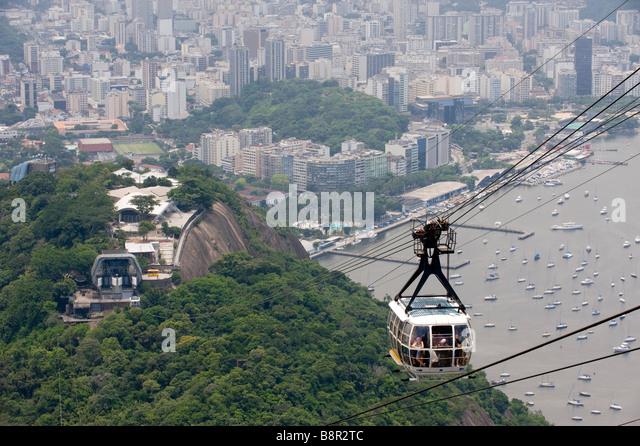 CABLE CAR ON SUGARLOAF MOUNTAIN RIO DE JANEIRO BRAZIL - Stock Image