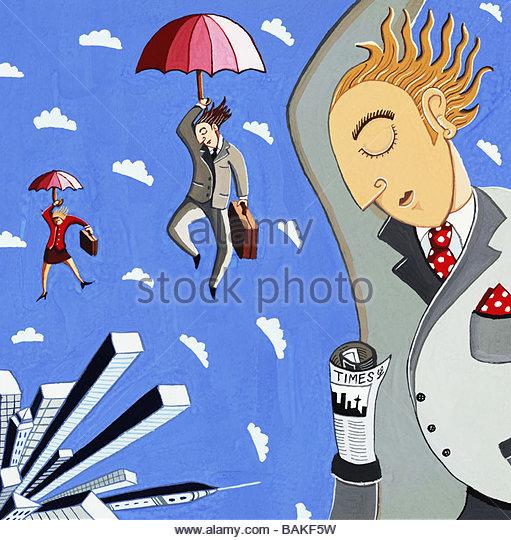 Flying to Work - Stock-Bilder