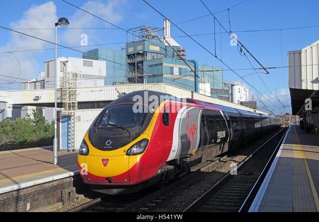 Pendolino at Warrington Bank Quay Rail Station, WCML Cheshire, England,UK - Stock Image
