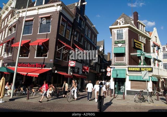 Amsterdam diamont factory street cafe - Stock Image