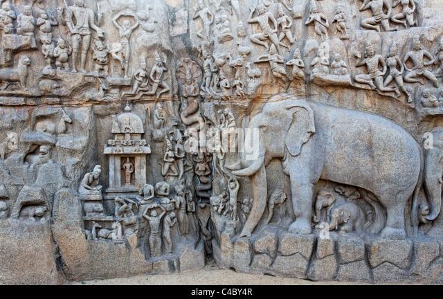 India - Tamil Nadu - Mamallapuram - elephant sculpture at Arjuna's Penance - Stock Image