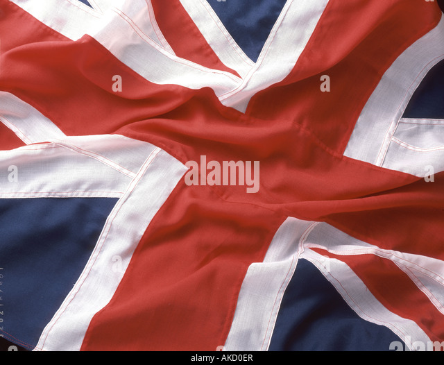 British Union Jack flag taken in studio setting - Stock Image