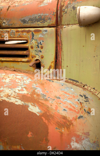 Full frame close up detail of rusted green truck - Stock Image