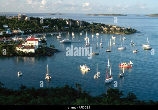 US Virgin Islands St. John Cruz Bay view of Cruz Bay Harbor from North Shore Road USVI001 - Stock Image