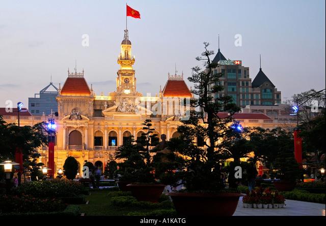 City hall, People's Committee Building, Ho Chi Minh City, Saigon, Vietnam - Stock Image