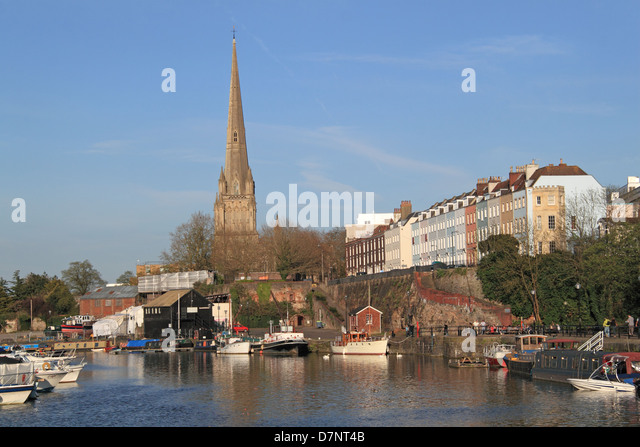 St Mary Redcliffe spire from Prince Street Bridge, Floating Harbour, Bristol, England, Great Britain, United Kingdom, - Stock Image