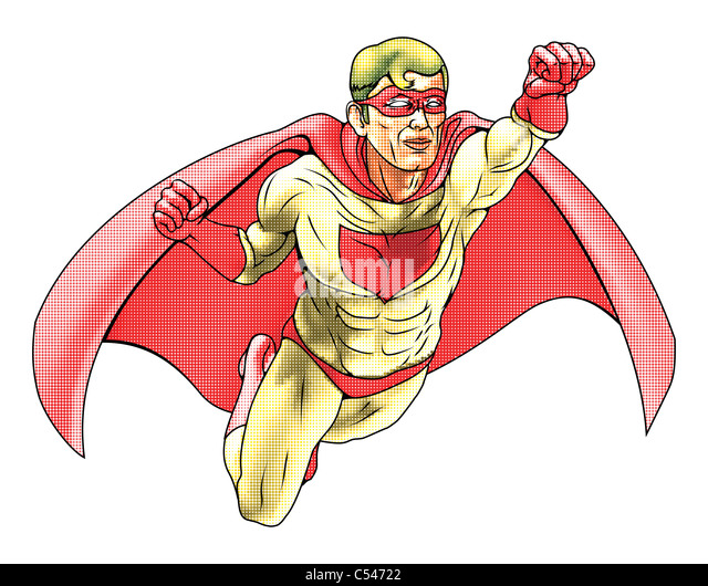 Illustration of super hero dressed in red and yellow costume and cape flying. Haftone style for traditional comic - Stock Image