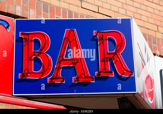 bhz Neon red on blue 'BAR' sign, Bremen, Germany - Stock Image