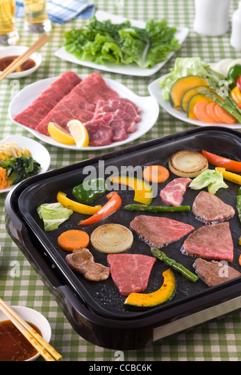 Grilled Beef on Hot Plate - Stock-Bilder