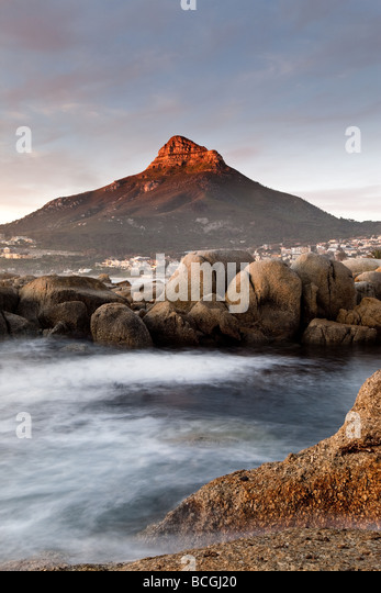 Lion's Head Lions Head at Sunset, Cape Town South Africa - Stock Image
