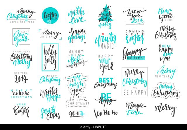 Merry Christmas and Happy New Year 2017 luxury calligraphy emblems set. New blue inscriptions holidays, vector logo, - Stock Image