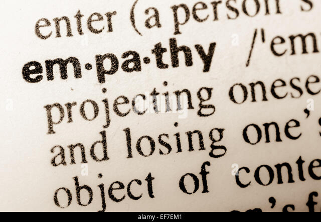 macro of word empathy definition in dictionary - Stock Image