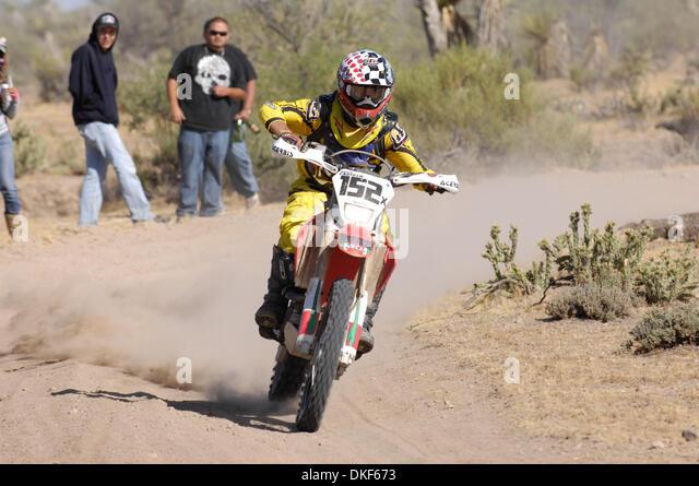 Jun 06, 2009 - Valle de la Trinidad, Baja Norte, Mexico - HECTOR CASTILLO, winner of Class 20 (125cc Pro motorcycles), - Stock Image