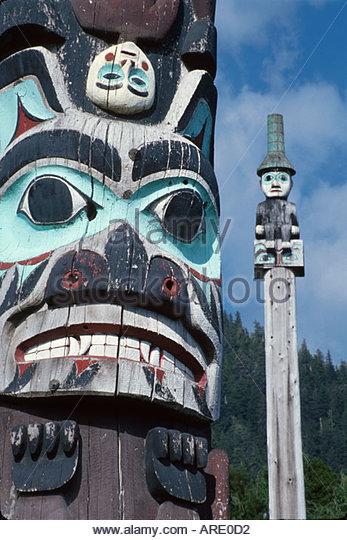 Alaska Ketchikan Saxman Native Village Tlingit Native American totem pole - Stock Image