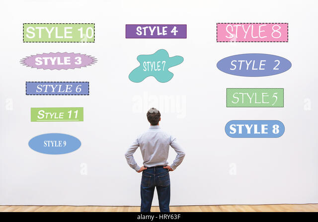 designer choosing style, fonts, shapes and colors  for design - Stock Image