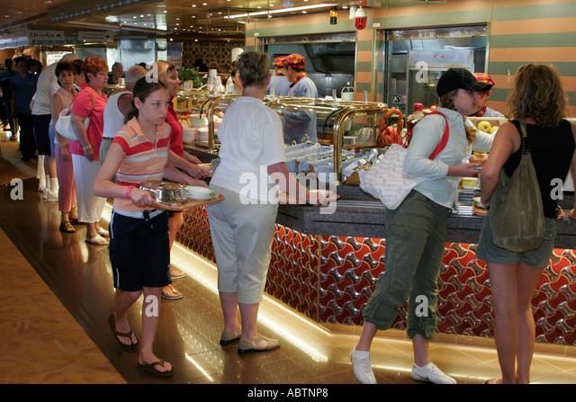 St. Thomas USVI Holland America Line ms Noordam Lido Restaurant cafeteria food line - Stock Image