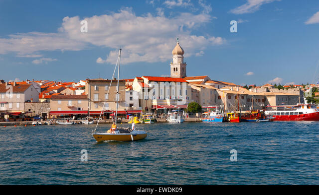 Krk old town waterfront. Island Krk in Croatia - Stock-Bilder