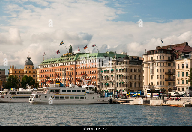 Hotels on the waterfront in Stockholm, Sweden - Stock Image