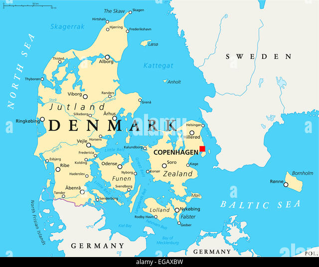 Denmark Political Map with capital Copenhagen, national borders, important cities and rivers. English labeling and - Stock Image
