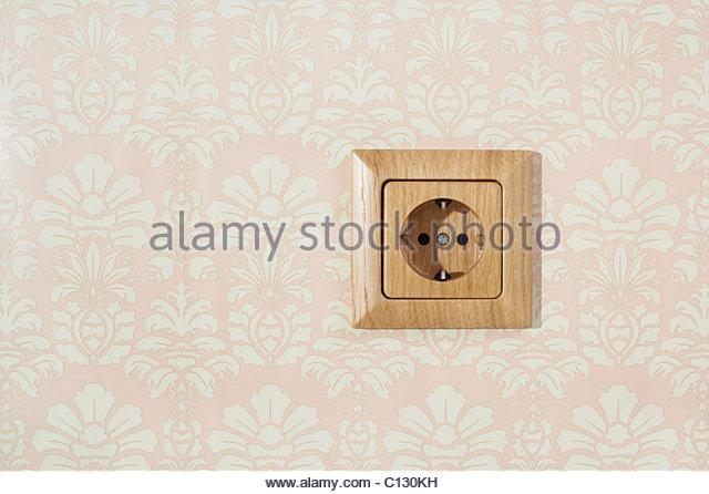 still life of wooden power socket - Stock Image