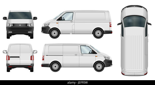 Minivan template on white background. Cargo car isolated. - Stock Image