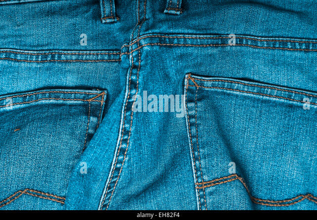 blue jeans trousers detail - Stock Image