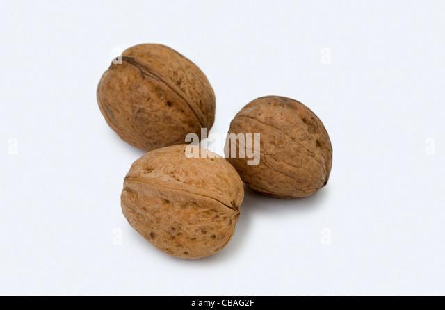 three walnuts cutout - Stock Image