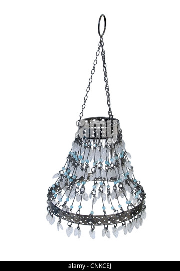 Hanging chandelier with crystal leaves and blue beads - Stock Image