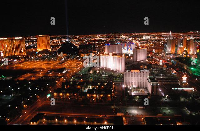 aerial Las Vegas Nevada at night bright neon lights - Stock Image