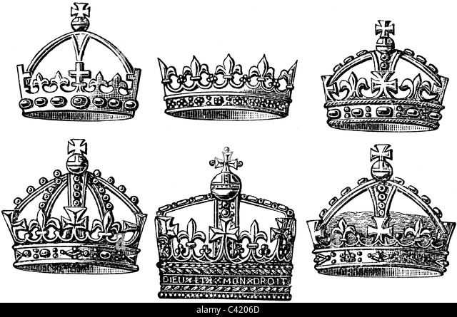 19th Century book illustration, taken from 9th edition (1875) of Encyclopaedia Britannica, of English Royal Crowns - Stock Image