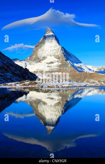 matterhorn refelcting in lake Riffel, Riffelsee, Switzerland, Valais - Stock Image