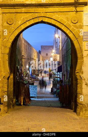 Rue de la Skala in the Medina at night, UNESCO World Heritage Site, Essaouira, Atlantic coast, Morocco, North Africa, - Stock Image